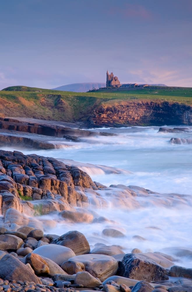 Coastal view of Classie Bawn Castle, Mullaghmore, Co Sligo, Ireland.