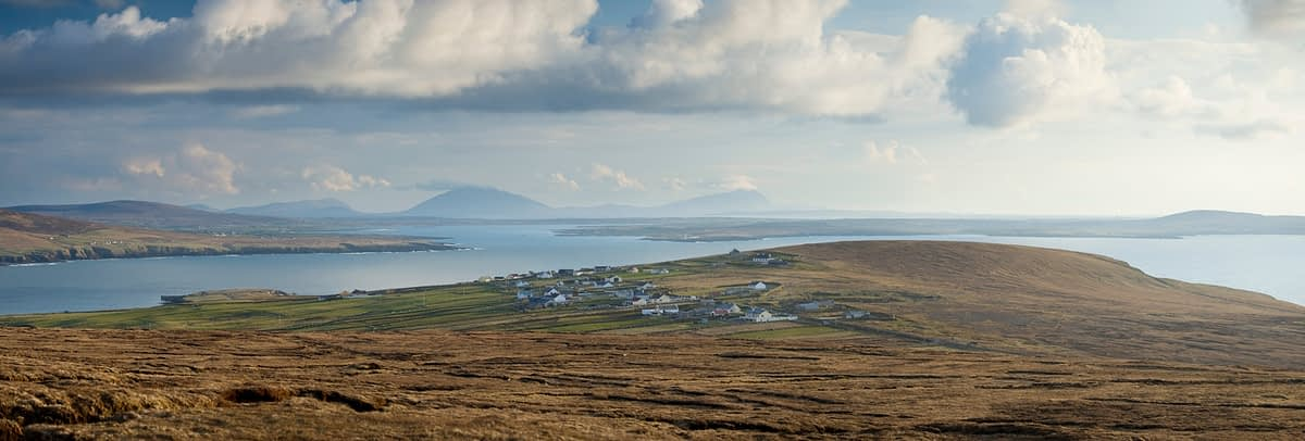 View across Carrowteige and Broadhaven Bay, Co Mayo, Ireland.