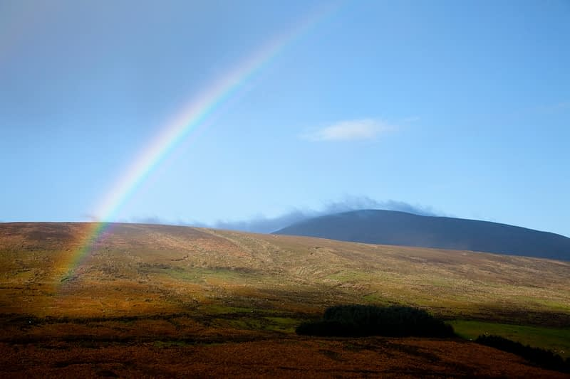 Rainbow over Sawel Mountain, Sperrin Mountains, Co Tyrone, Northern Ireland.
