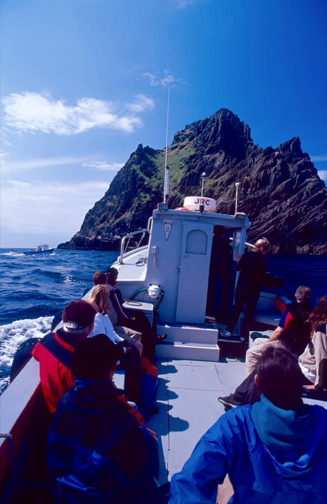 Day trippers on the boat to Skelling Michael, Skellig Islands, Co Kerry, Ireland.