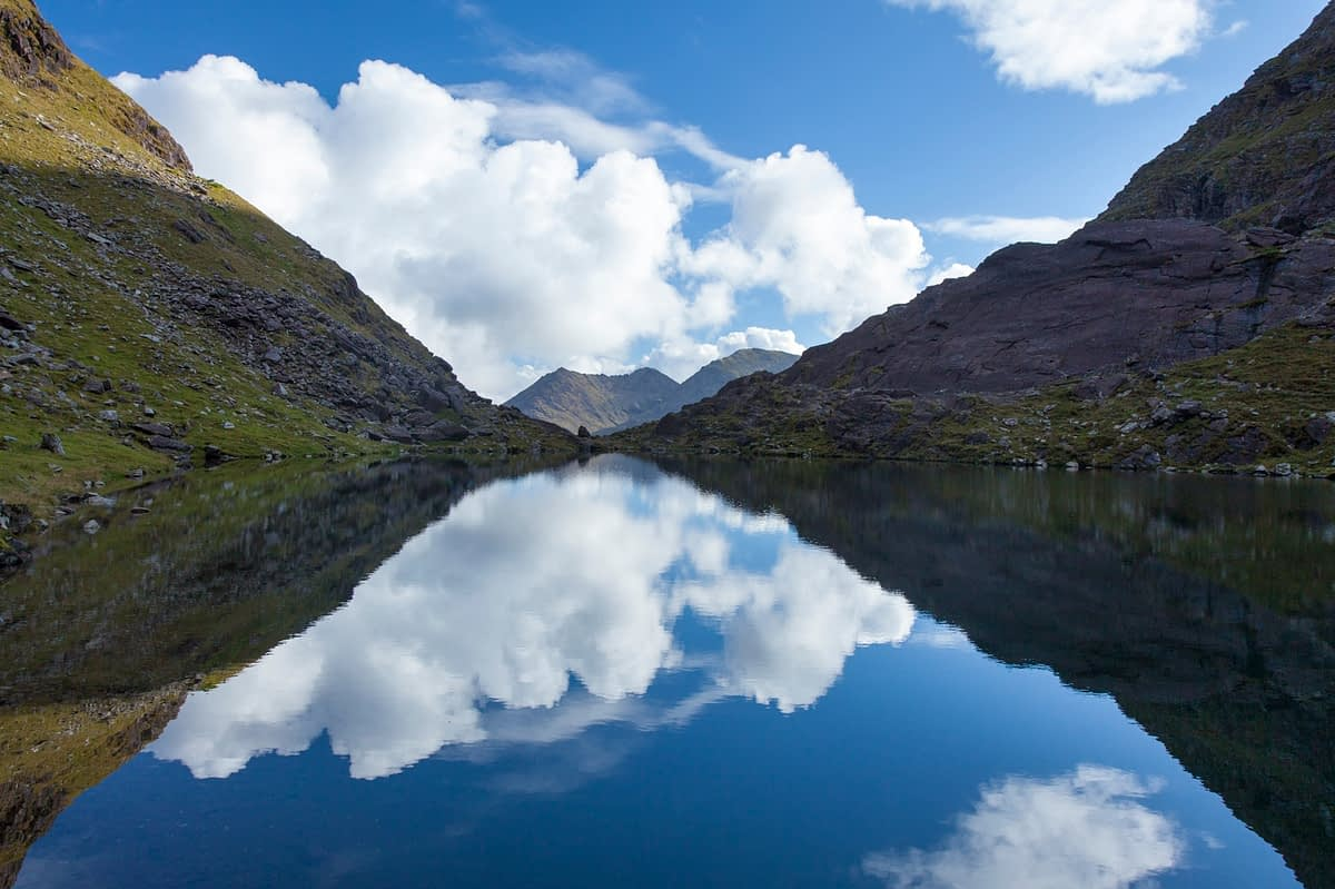 Lough Cummeenoughter, Ireland's highest lake, Carrauntoohil, MacGillycuddy's Reeks, County Kerry, Ireland.