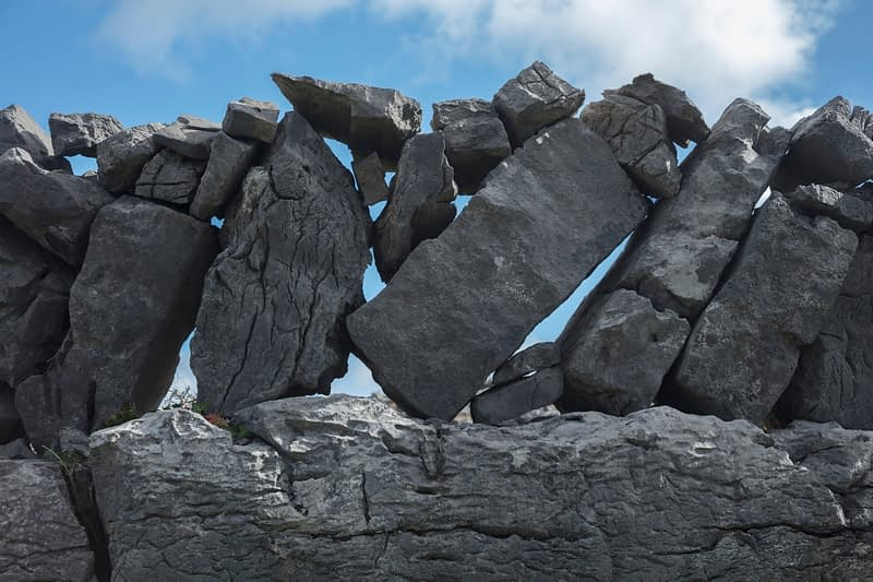 Detail of stone wall on Inishmore, Aran Islands, County Galway, Ireland.