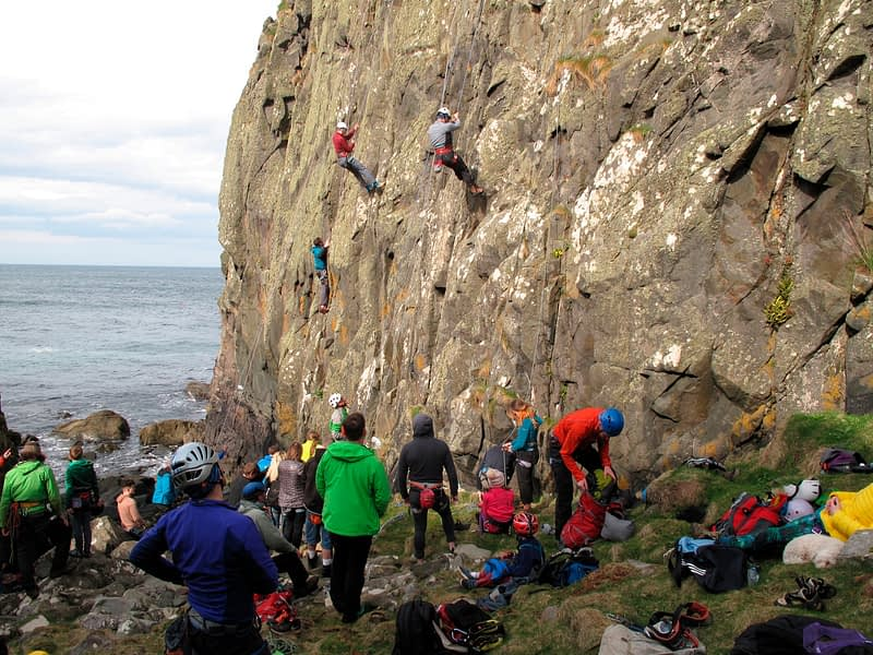 Rock climbing at Culdaff during the Colmcille Climbers Climbfest, County Donegal, Ireland.