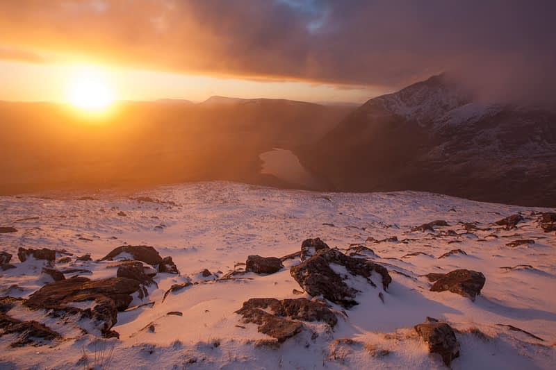 Winter sunrise from the slopes of Brandon Mountain, Dingle Peninsula, County Kerry, Ireland.