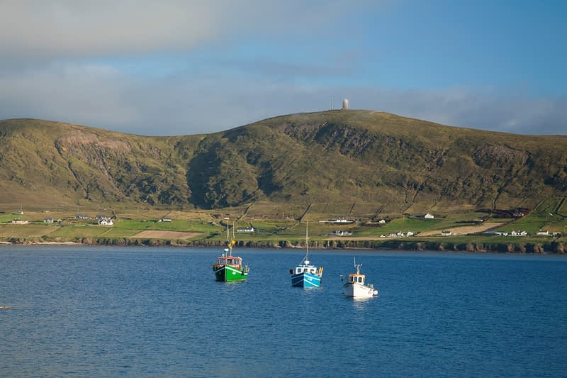 Fishing boats moored in Broadhaven Bay, Carrowteige, Co Mayo, Ireland.