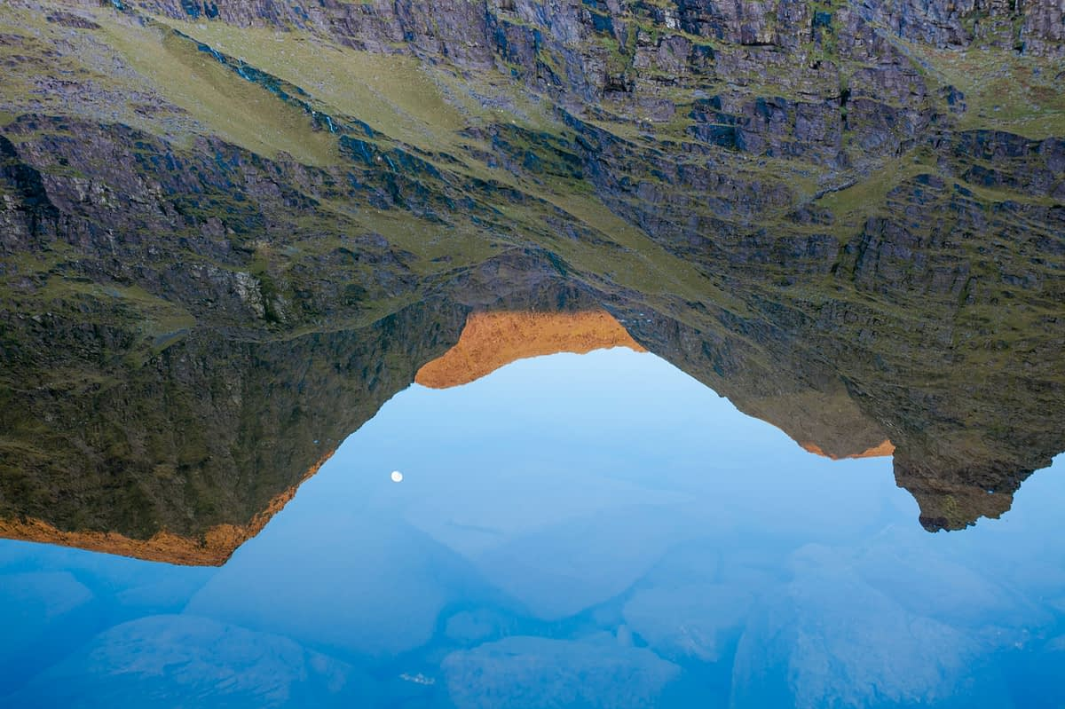 Carrauntoohil and Beenkeragh reflected in Lough Gouragh, Hag's Glen, MacGillycuddy's Reeks, County Kerry, Ireland.