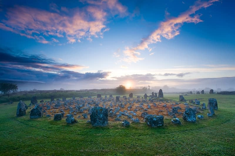 Dawn mist at Beaghmore Stone Circles, Co Tyrone, Northern Ireland.