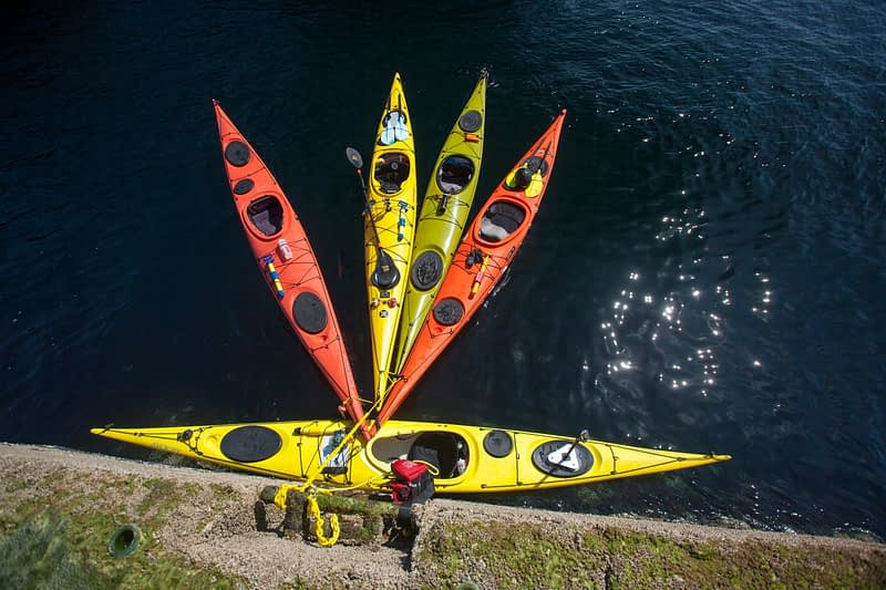 Sea kayaks tied up at Eagle Island landing point, Belmullet, County Mayo, Ireland.
