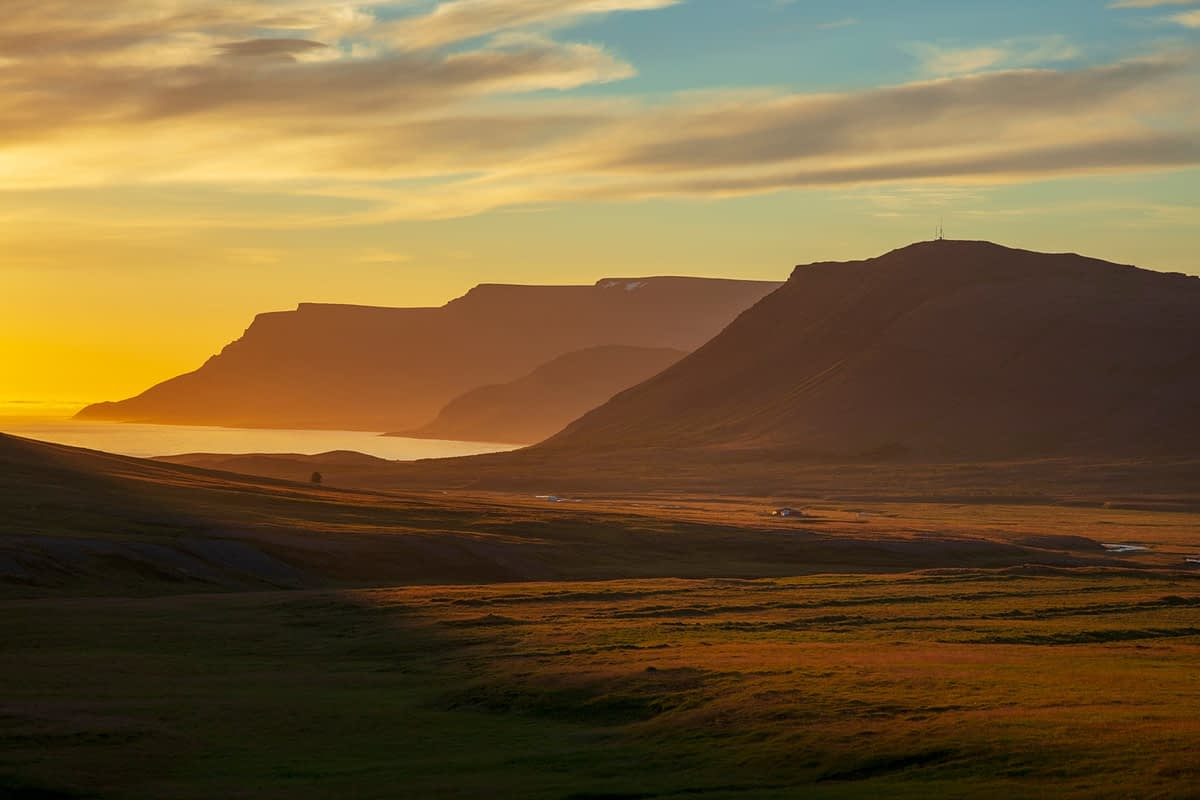 Mountain sunset over Dyrafjordur, Westfjords, Iceland.
