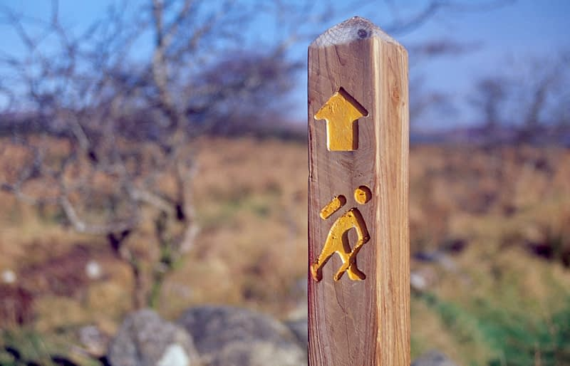 Waymarking post for the Bluestack Way, Co Donegal, Ireland.