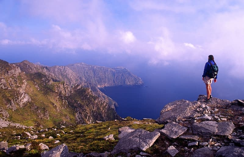 Walker admiring the cliffs of Slieve League, Co Donegal, Ireland.