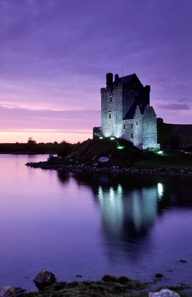 Dusk reflection of Dunguaire Castle, Kinvara, Co Galway, Ireland.