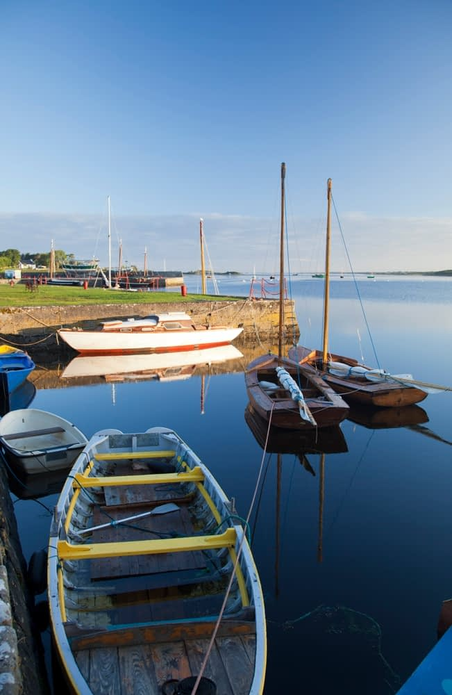 Morning reflections of Kinvara harbour, Co Galway, Ireland.