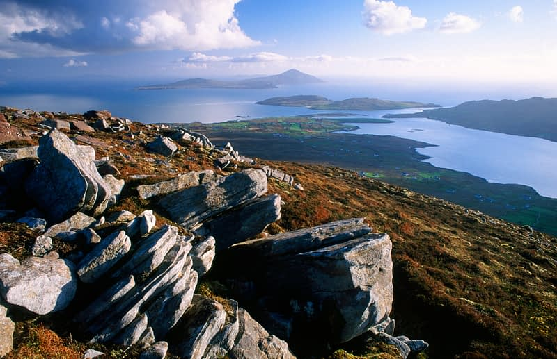 View from Corraun mountain to Clare Island, Co Mayo, Ireland.