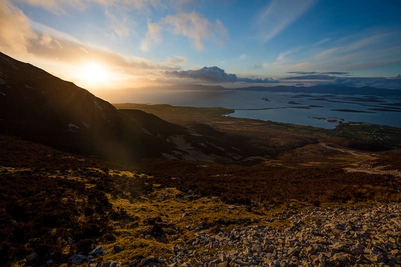 Clew Bay sunset from the slopes of Croagh Patrick, County Mayo, Ireland.