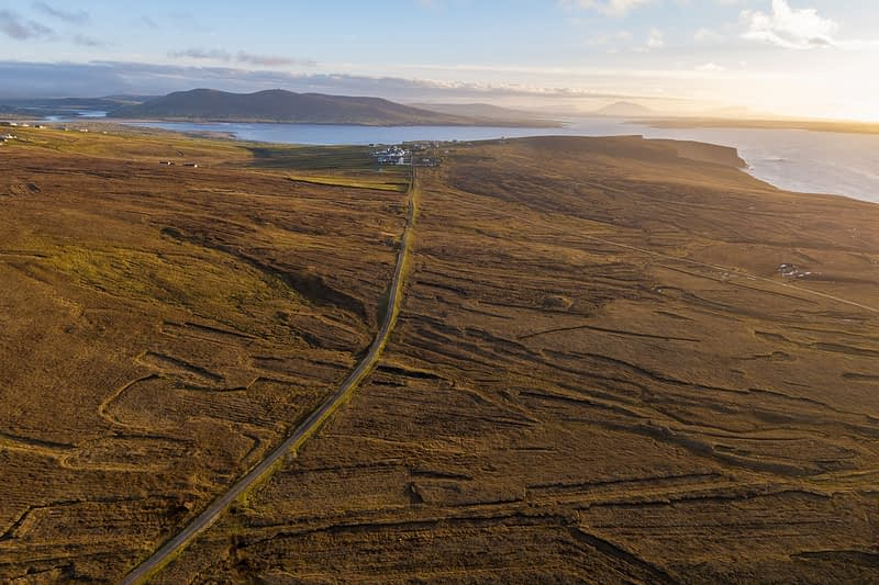 Aerial view of bog and road at Benwee Head, County Mayo, Ireland.
