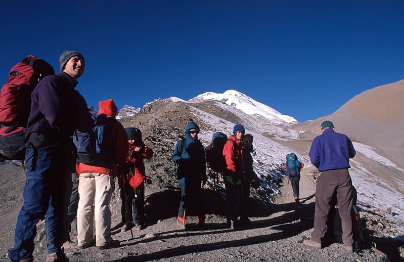 Trekkers on Thorung La pass, Annapurna Circuit, Nepal.