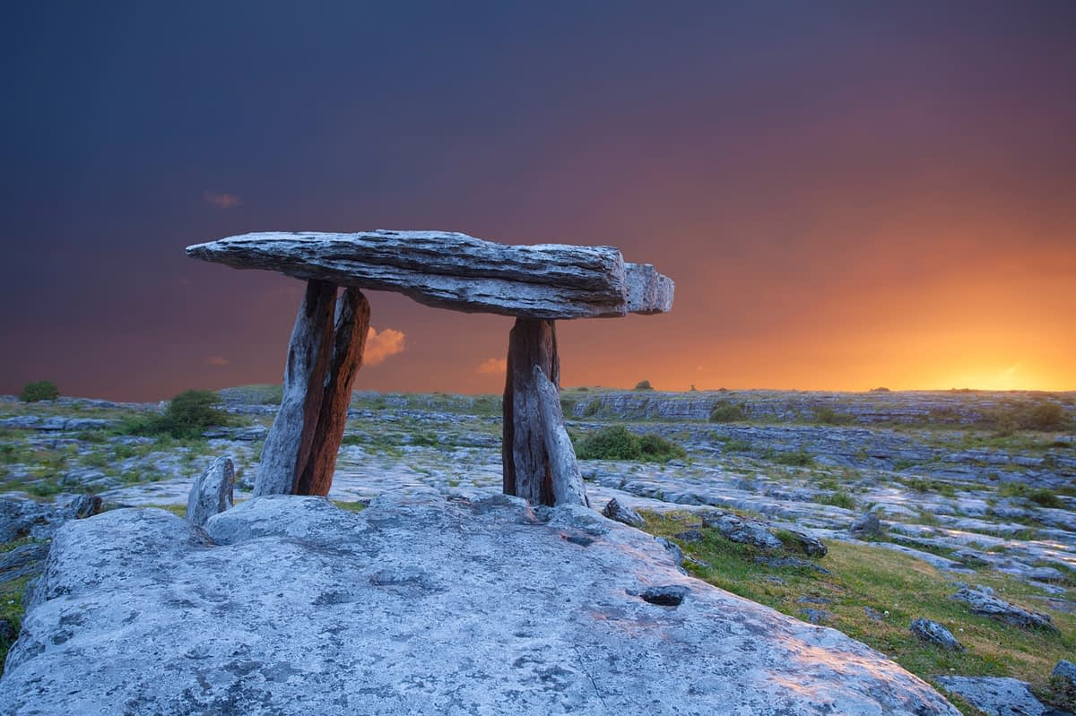 Dawn at Poulnabrone Dolmen, The Burren, County Clare, Ireland.