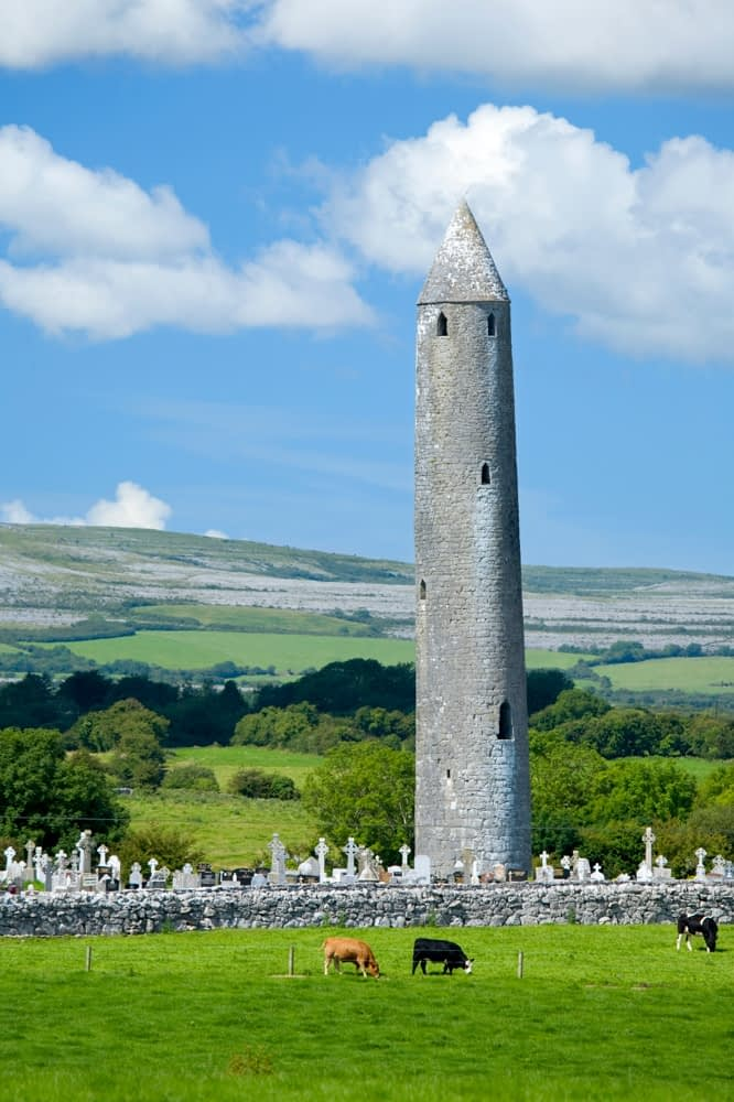 Kilmacduagh Round Tower, Co Galway, Ireland.
