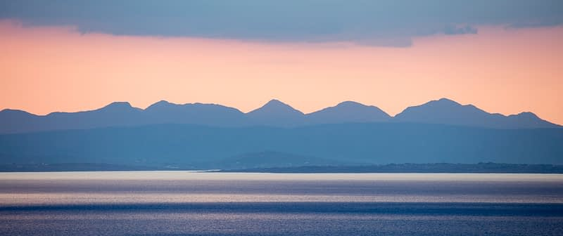 The Twelve Bens across Galway Bay, County Clare, Ireland.