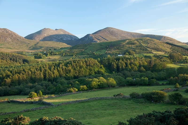 Farmland and forest beneath the Mourne Mountains, Co Down, Northern Ireland.