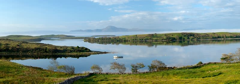 View across Clew Bay to Croagh Patrick, Co Mayo, Ireland.