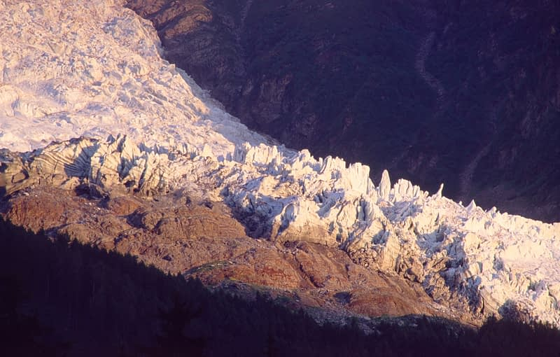 Evening light on the Bossons Glacier, Chamonix Valley, French Alps, France.