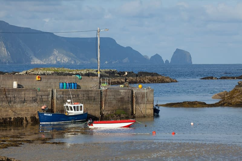Fishing boats moored in Rosbeg harbour, County Donegal, Ireland.
