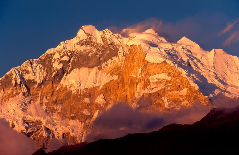 Evening light on Annapurna I, Nepal Himalaya.