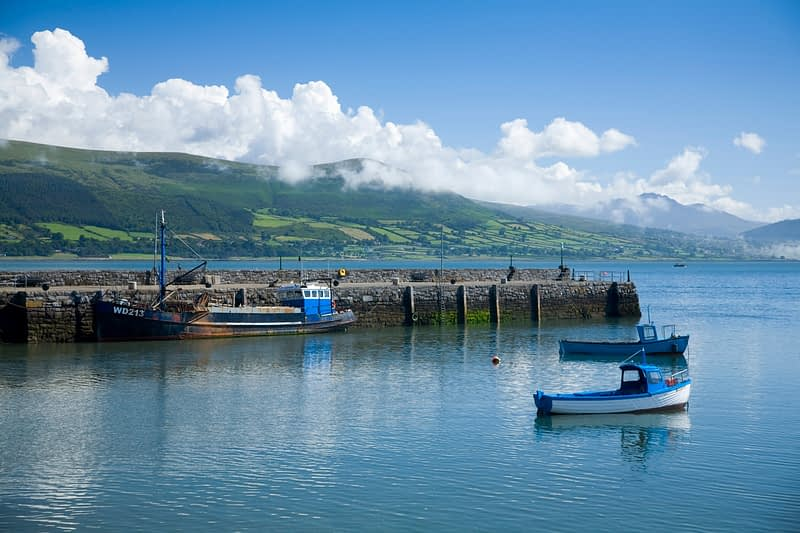 Fishing boats beside Carlingford pier, Co Louth, Ireland.