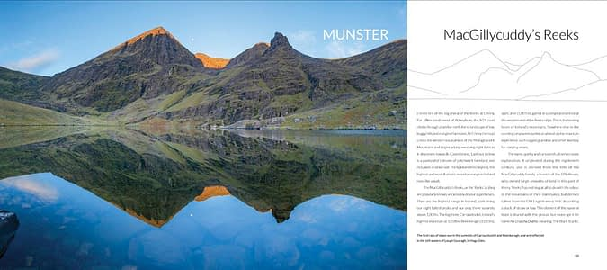 Interior pages of a signed copy of The Mountains of Ireland book, by Gareth McCormack