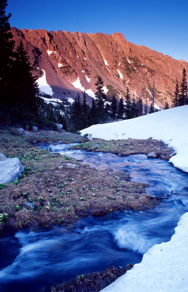Meltwater stream, Mount Zirkel Wilderness Area, Colorado, USA.