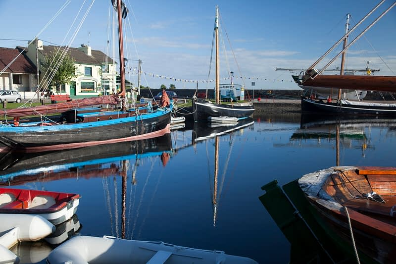 Sailing boats in Kinvara harbour, Co Galway, Ireland.