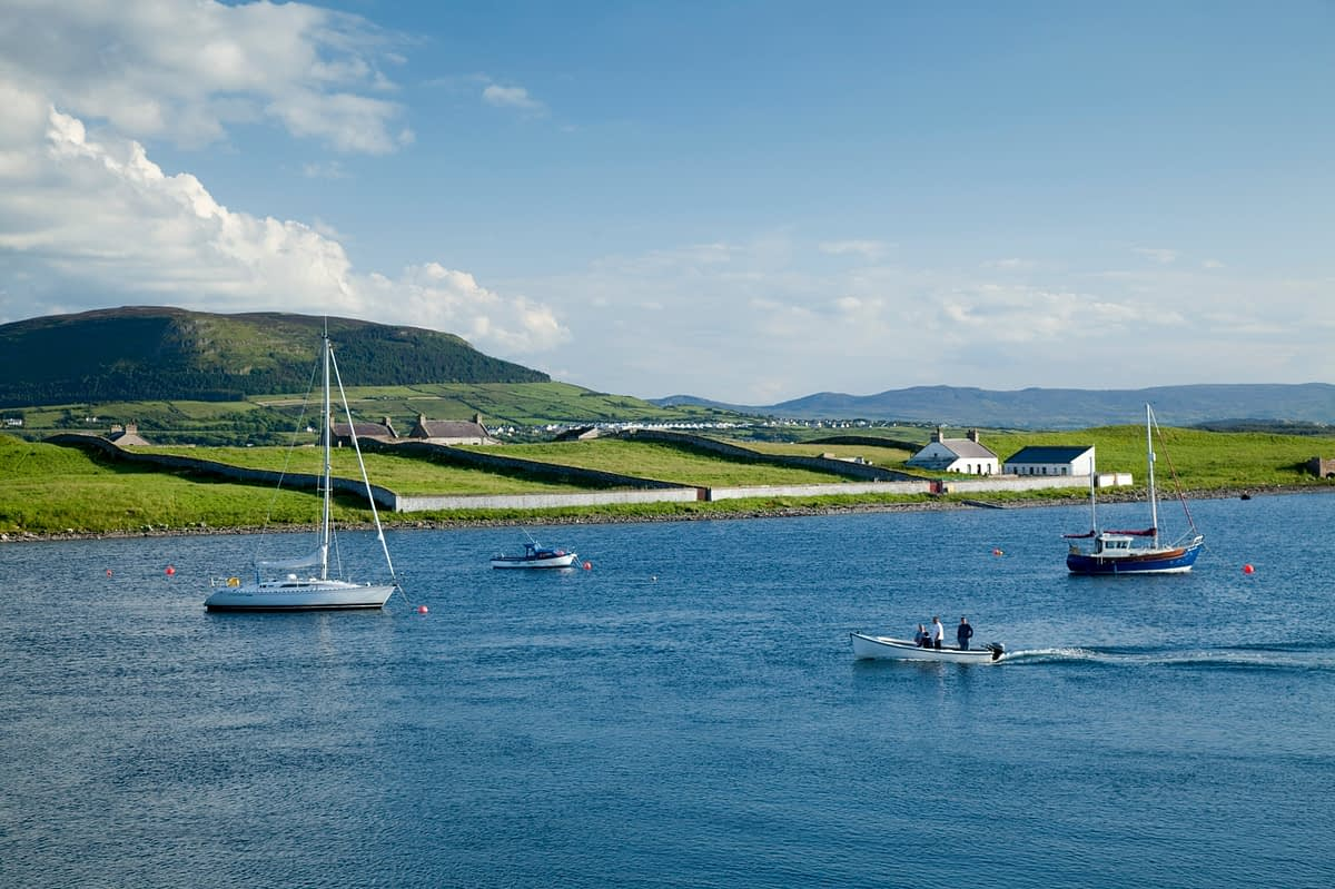 Fishing boats and yachts near Rosses Point, Co Sligo, Ireland.