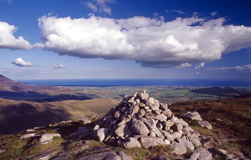 Summit cairn on Eagle Mountain, Mourne Mountains, Co Down, Northern Ireland.