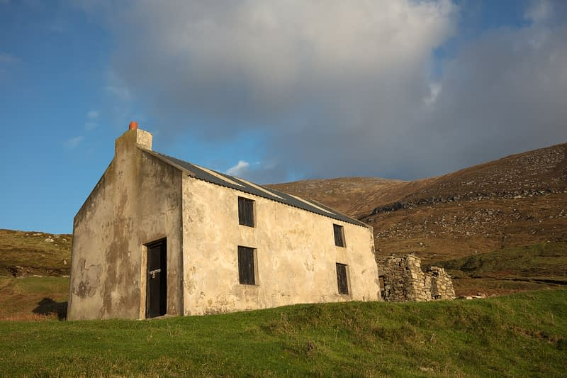 Old cottage above Keem Bay, Achill Island, County Mayo, Ireland.