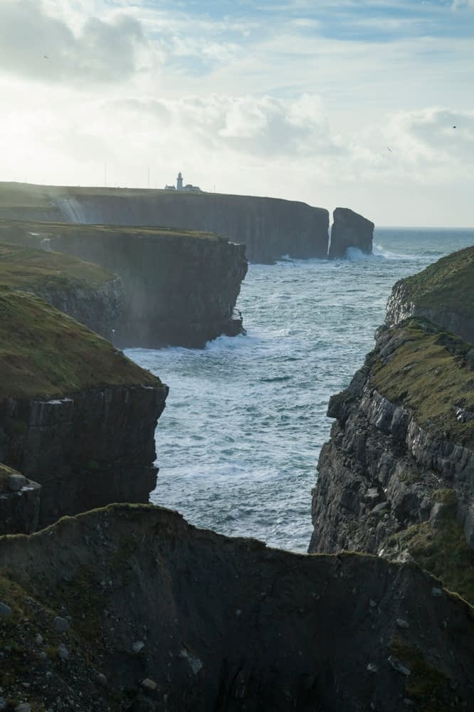 Sea cliffs beneath Loop Head Lighthouse, County Clare, Ireland.