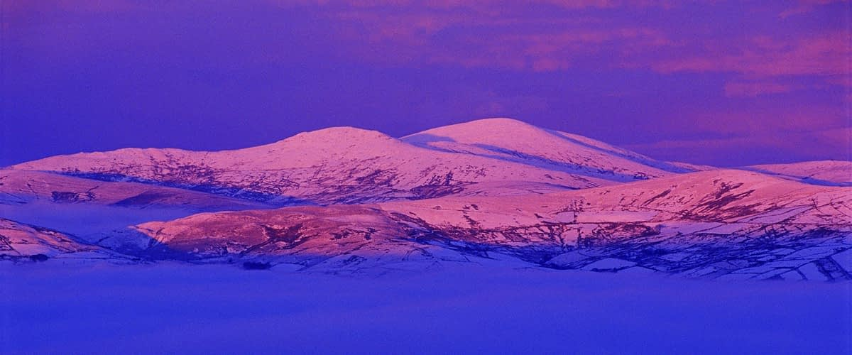 Winter sunset over the Sperrin Mountains, Co Tyrone, Northern Ireland.
