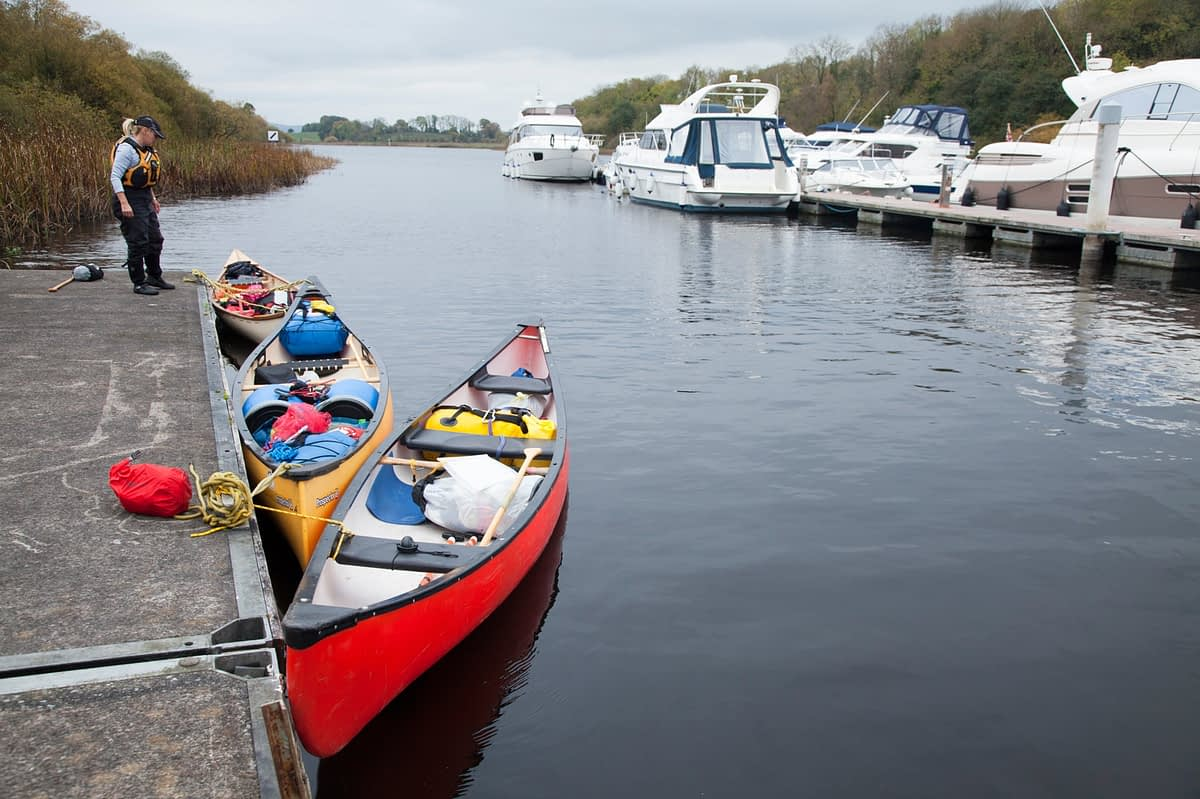 Canoes moored at Carrybridge jetty, Upper Lough Erne, County Fermanagh, Northern Ireland.