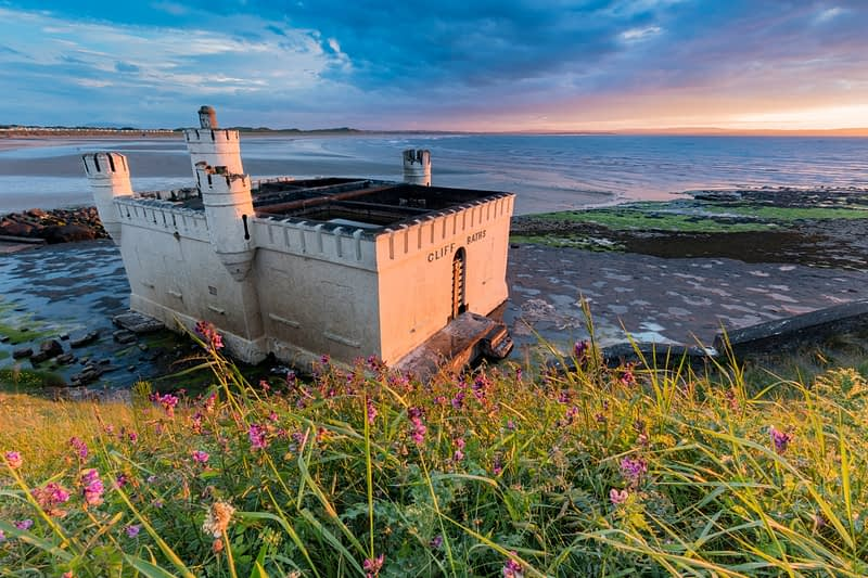 Evening light on the old seaweed baths, Enniscrone, County Sligo, Ireland.