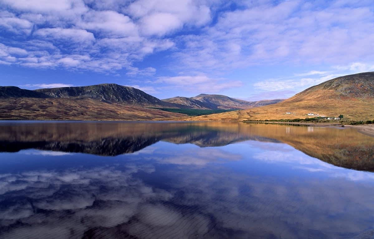 Reflection of Lough Feeagh and the Nephin Beg Mountains, Co Mayo, Ireland.