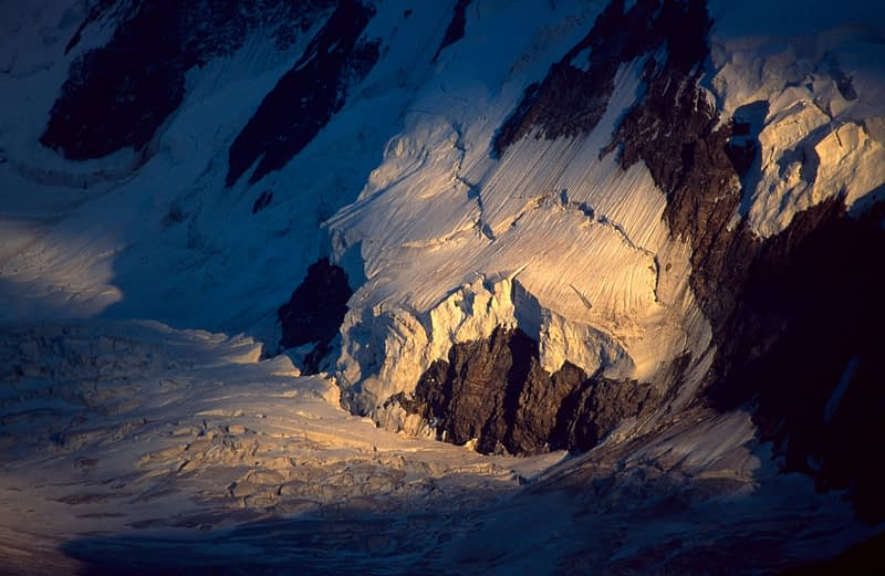 Evening light on Gorner Glacier, Monte Rosa, Valais, Swiss Alps, Switzerland.