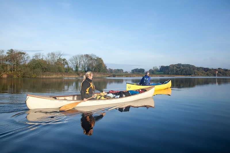 Canoeing near Culky, Upper Lough Erne, County Fermanagh, Northern Ireland.