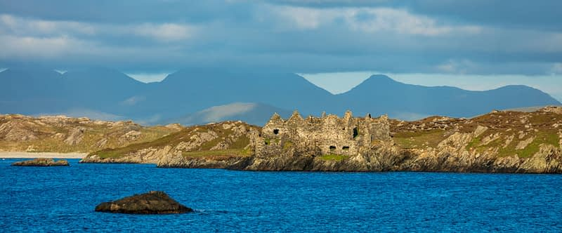 Cromwell's Barracks on the shore of Inishbofin island, Connemara, County Galway, Ireland.