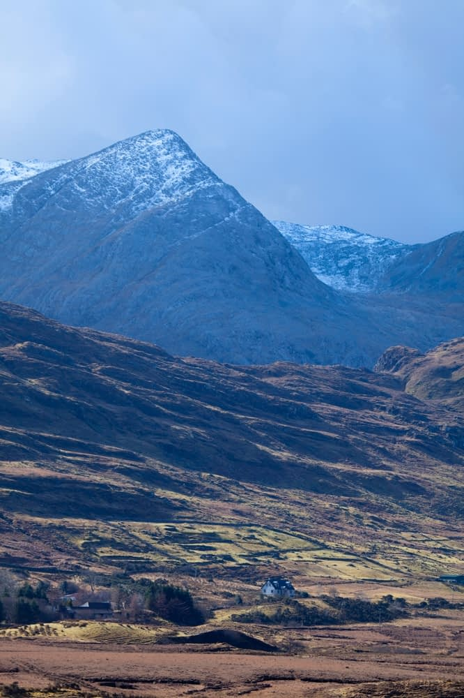 Winter Maumturk Mountains from Joyce Valley, Connemara, Co Galway, Ireland.