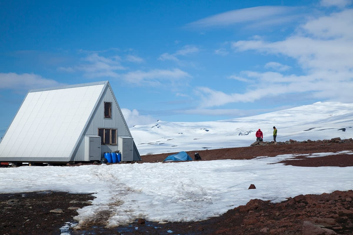 The new Baldvinsskali mountain hut on the Fimmvorduhals trail, Sudhurland, Iceland.