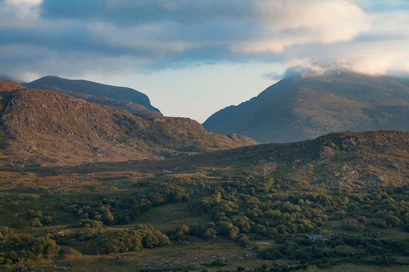 View across the Black Valley to the Gap of Dunloe, MacGillicuddy's Reeks, County Kerry, Ireland.