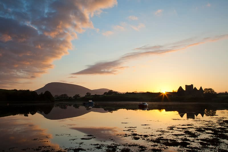 Sunset at Burrishoole Abbey, Clew Bay, Co Mayo, Ireland.