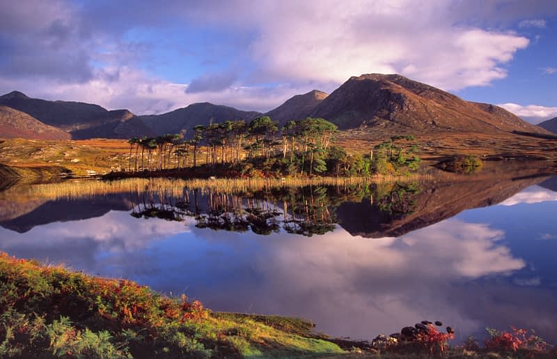 Dawn reflections of the Twelve Bens, Derryclare Lough, Connemara, Co Galway, Ireland.