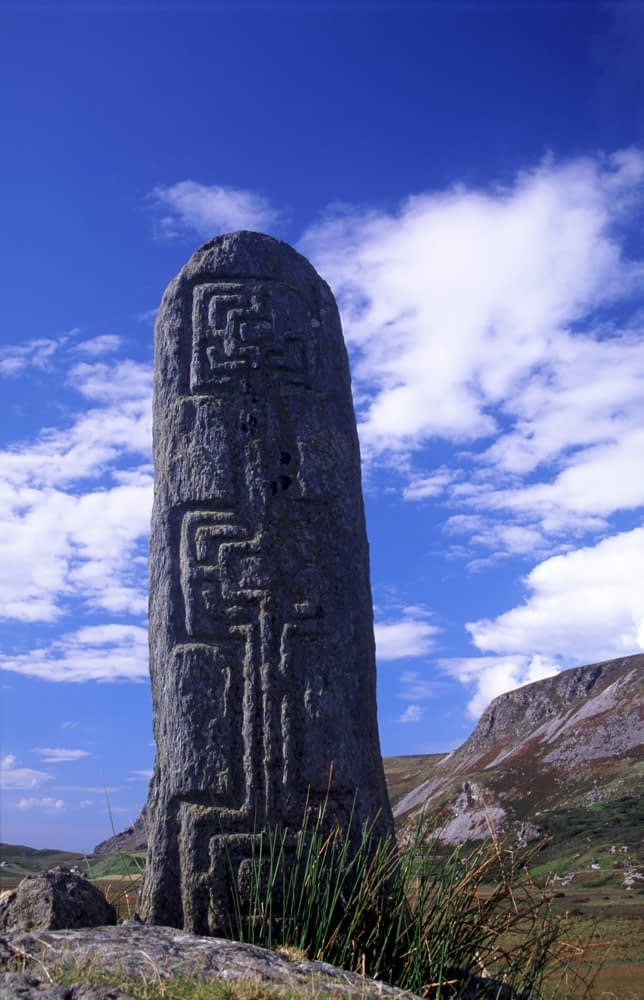 Early Christian carved pillar, Glencolmcille, Co Donegal, Ireland.
